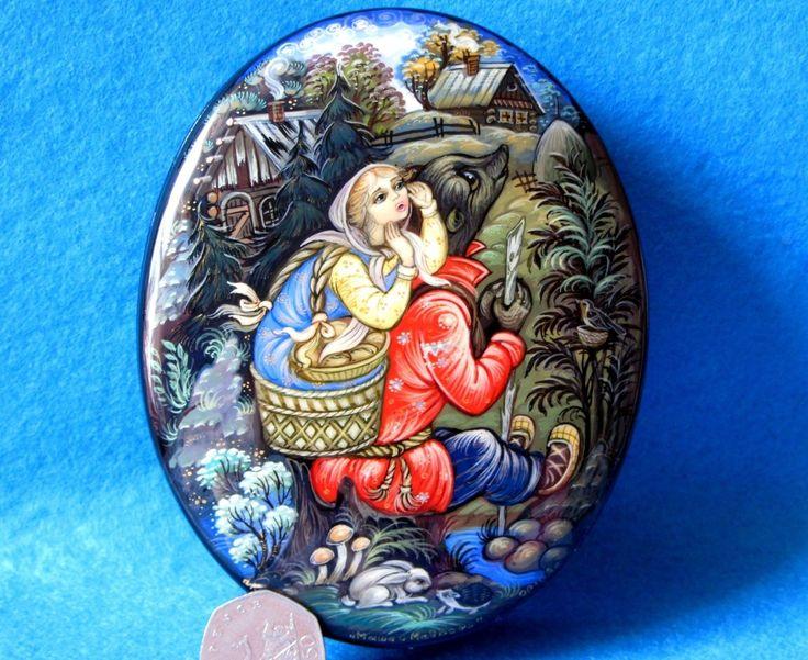 Russe LAQUE coffret à bijoux Conte de fées Masha et l'ours Kholui BELOVA Signé | eBay