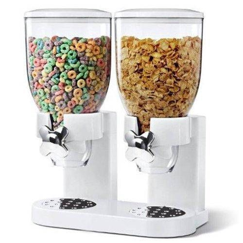 Double Plastic Classic Dry Food Cereal Dispenser Double