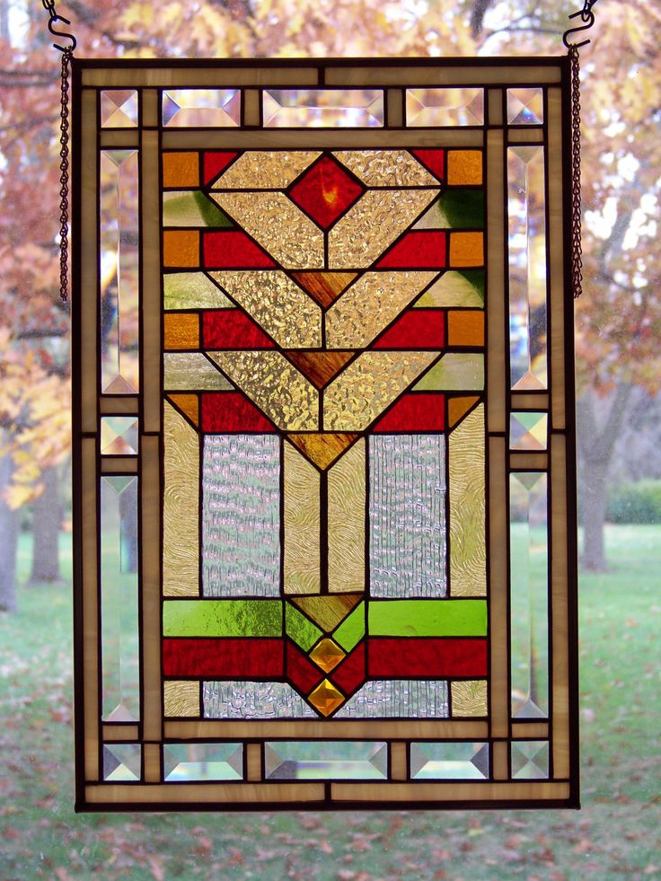 Warm Hues Vertical Prairie Style Stained Glass Panel.