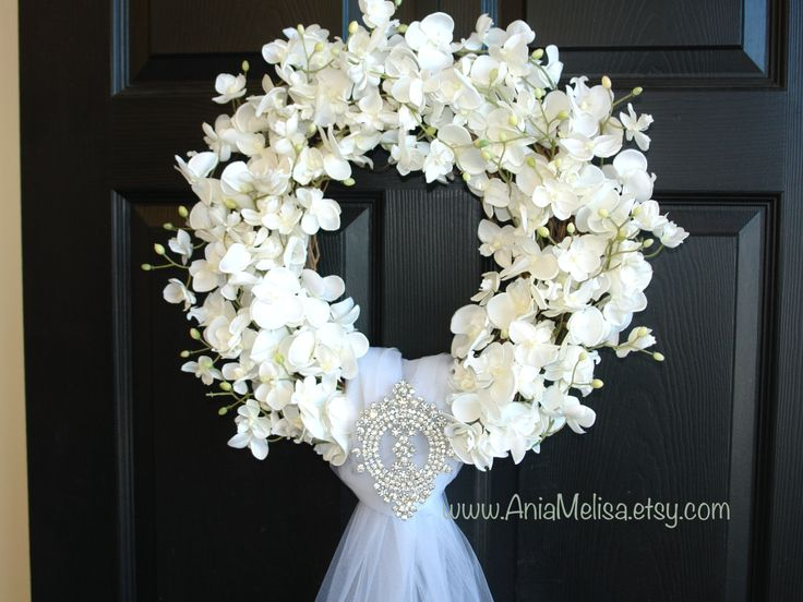 summer wreaths, weddings decor flowers year round wreaths, wreath, elegant wreath, peonies roses, front door, country french, outdoor and garden tulle veil WEDDING ORCHID WREATH Wreath size: 18 across Tulle veil is measure 55 long. This listing is for beautiful white orchids wreath. The