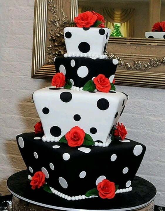 Polka Dotted Cake Alternate Layers Of White Frosting And
