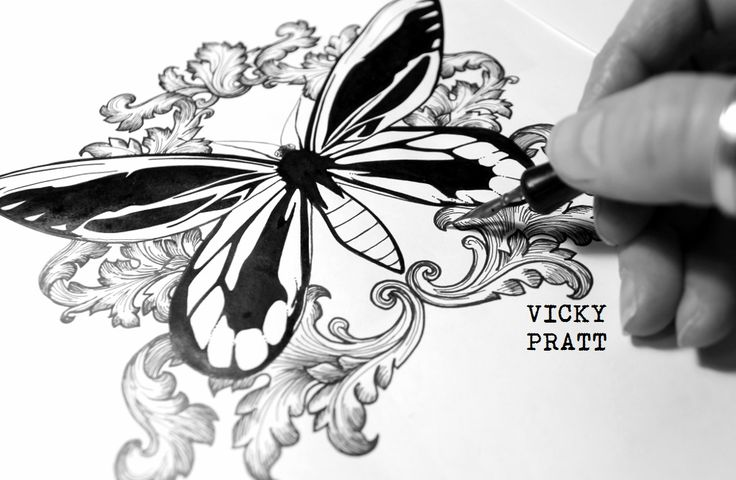 Ink illustration by Vicky Pratt. Queen Alexandra's Birdwing Butterfly and vintage Baroque filigree patterns. Available on Redbubble products. Find me on Facebook. www.vickyprattillustrations.com