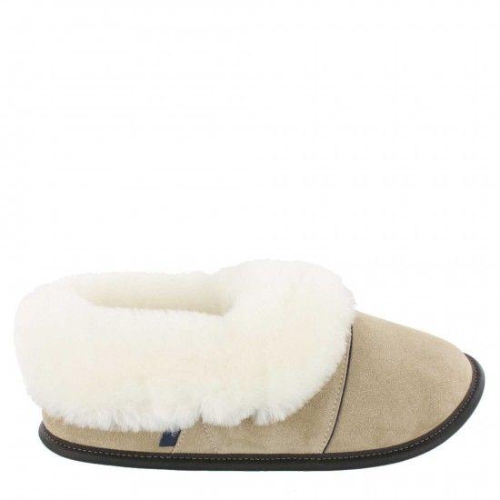 Pantoufle mouton et suède-Woman-medium-Tan-White Sheepskin
