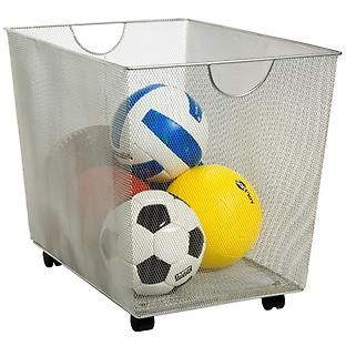 The generous capacity of our Silver Mesh Rolling Bin makes it ideal for collecting laundry, toys, sports equipment, pillows or comforters.  The tight weave of the mesh prevents small items from falling through.