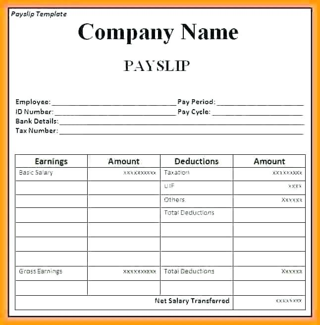 15 Payslip Template Uk Excel Paystub Confirmation Templates