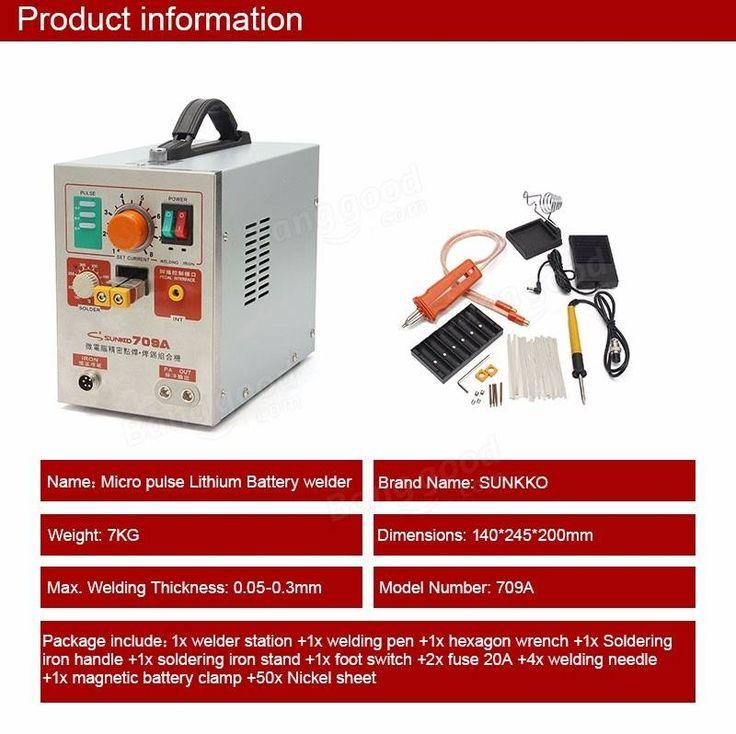 Sunkko 709a 1.9kw spot welder station de soudage machine de soudage + stylo de soudure universel pour téléphone portable 18650 batterie au lithium