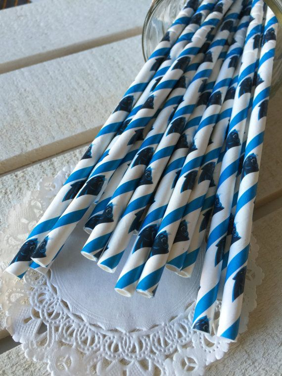 Super Bowl 50 Carolina Panthers Party Straws - Superbowl Party, Pack of 24, Football Party