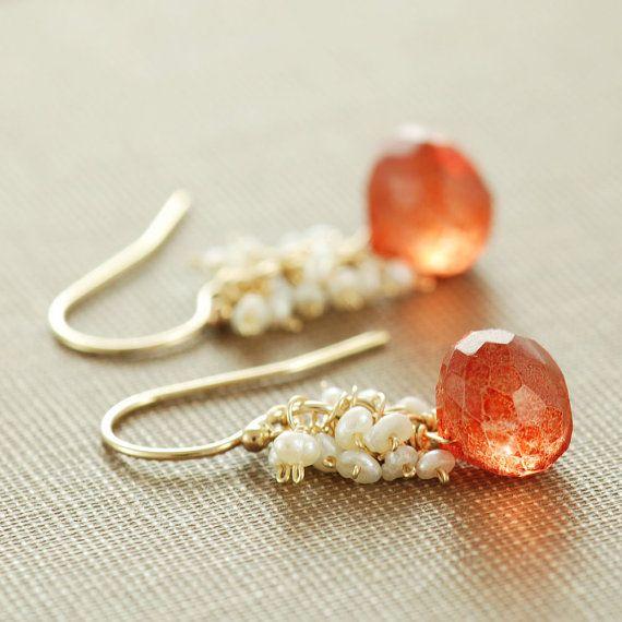 Orange Stone Pearl Dangle Earrings Gold Cluster by aubepine, $44.50