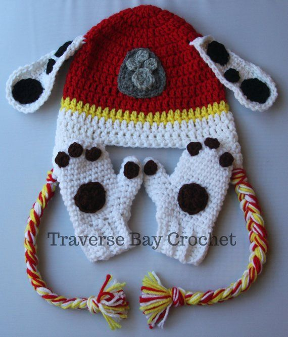 bb6290ff3fc Crochet Marshall Paw Patrol hat mitten set toddler child PDF Pattern ...