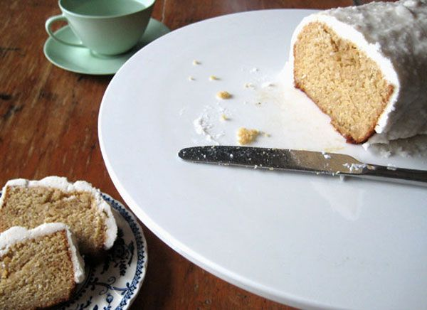 Coconut bread with coconut butter icing