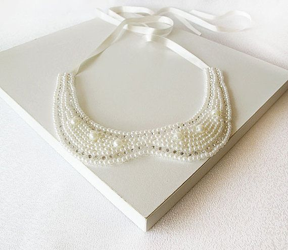 ivory pearl collar necklacePeter Pan Collar by aynurdereli on Etsy, $29.00