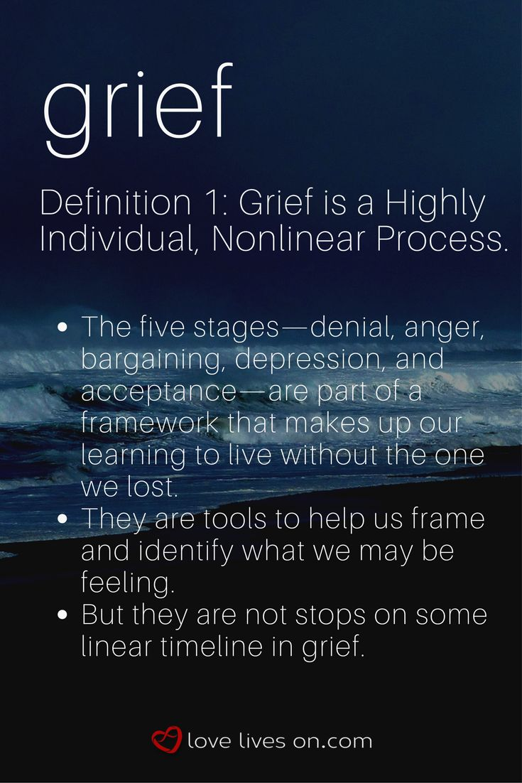 Grief Definition 1: Grief is a highly individual, nonlinear process. Click to learn more about this definition of grief.