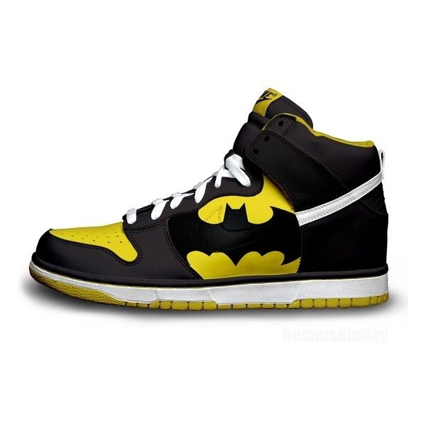 Batman Nike Dunks ❤ liked on Polyvore featuring shoes, batman, sneakers, nike, high tops, nike footwear, hi tops, nike shoes, high top shoes and nike high tops