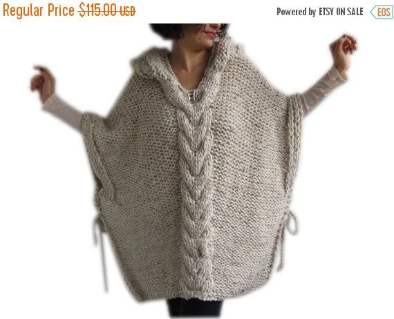 20% WINTER SALE Plus Size Knitting Poncho with Hoodie - Over Size Tweed Beige Cable Knit by Afra