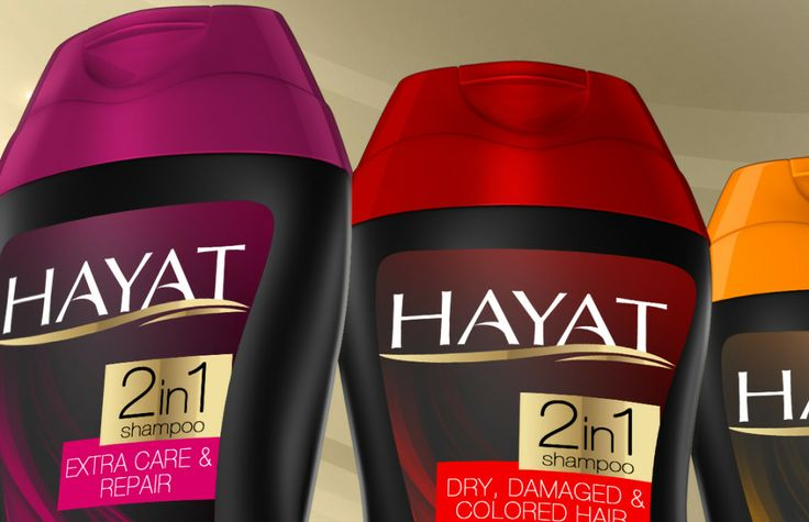 Curvy bottle designs with a feminine look were prepared for Hayat Shampoo to be sold in Middle East and Turkic Republics. #packaging #bottle #label #design #awarded #shampoo #industrialdesign