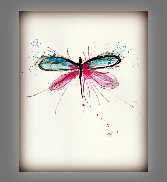 Dragonfly Art Painting Pink & Blue Wall Art Decor by PeaceofViolet, $18.00