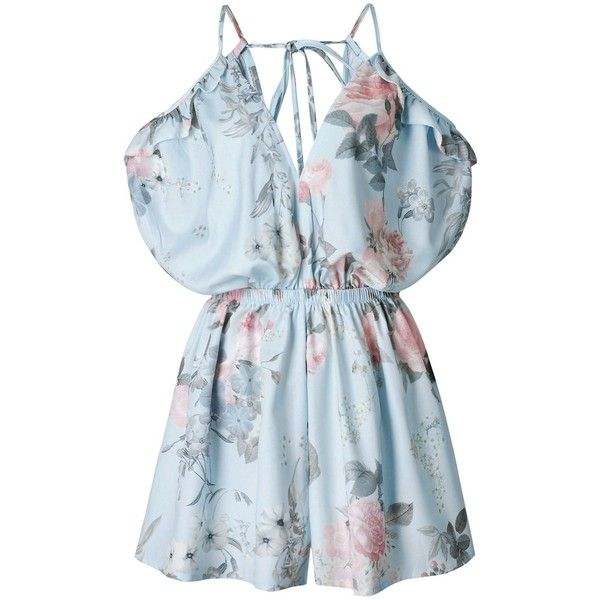 Spaghetti Strap Ruffle Floral Romper ❤ liked on Polyvore featuring jumpsuits, rompers, ruffle romper, ruffled rompers, flounce romper, blue floral romper and blue rompers