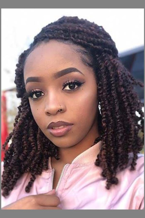 Twists curly braided hairstyle for womens with round face #hairstyle #hairstyleforshorthair #s ...