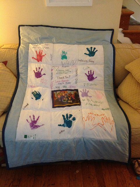 Quilt for teacher with kids handprints...?