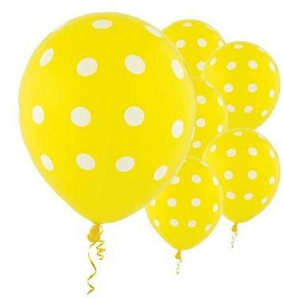 These yellow balloons have a Swiss dots pattern on them. This classic pattern matches a wide variety of themes, and these balloons come in a variety of colors to perfectly complement your decorations,