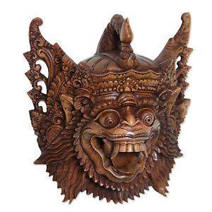 Hindu Mask Indonesian Art 'Heroic Sugriwa' Hand Carved Wood Ramayana