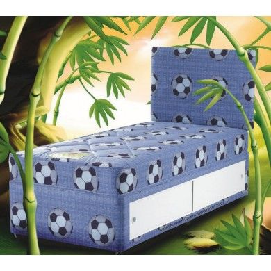 The goal bed is a perfect bed for kids who love football. The divan bed is covered in goal football fabric, as is the mattress. The fooball headboard is also included..