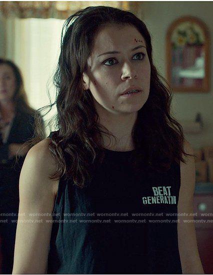 Sarah's black muscle tank top on Orphan Black.  Outfit Details: https://wornontv.net/74183/ #OrphanBlack