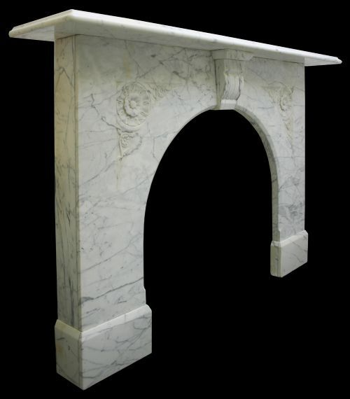 Victorian White Carrrara Arched Marble Fire Surround | 329722 | Sellingantiques.co.uk