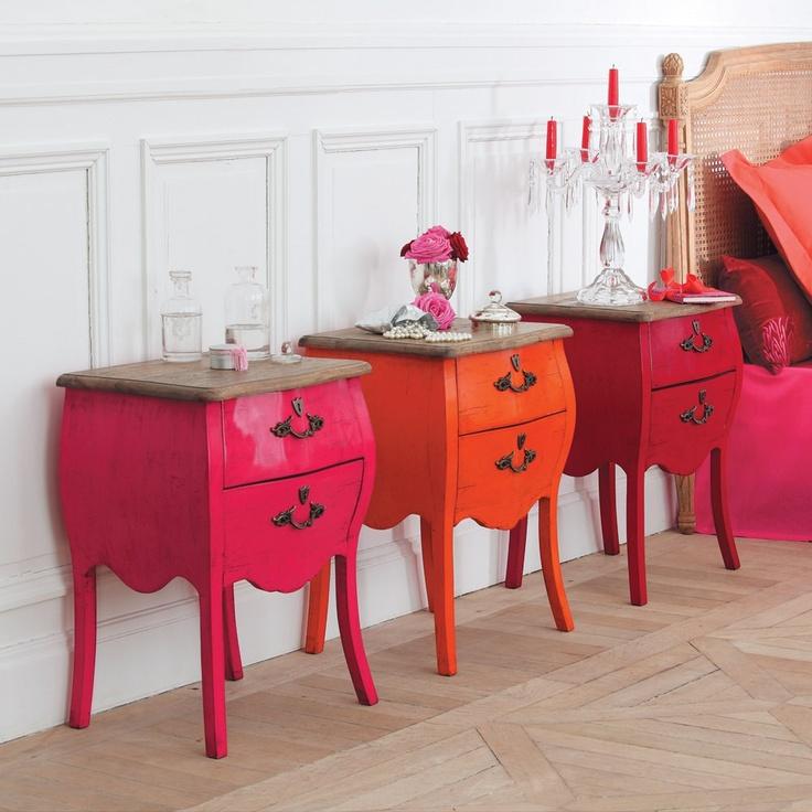 Pink & Orange Haute couture nightstands...