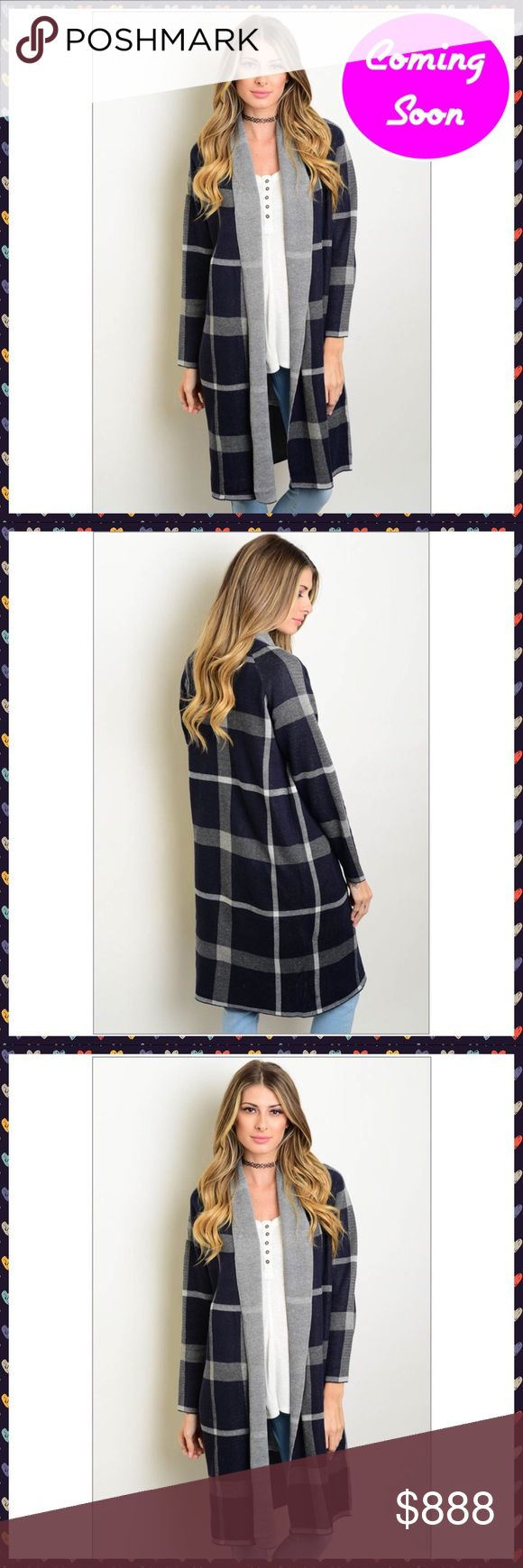 """""""Arrived"""" Navy Gray Long Cardigan Navy Gray Long Cardigan  One Size Fits Mos…"""