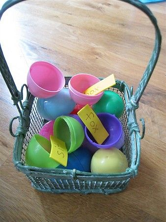 Love this idea!  Hiding eggs with words in it to read.  Great for sight words or beginning readers.  Can also use letters or numbers, lots of ideas!