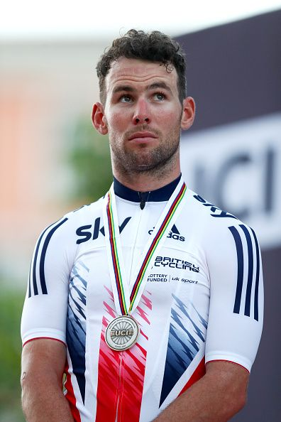 Mark Cavendish of Great Britain stands on the podium after finishing second in the Elite Men's Road Race on day eight of the UCI Road World...