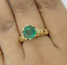 Сертифицированный 2.20 карата круглым вырезом натуральный изумруд 14k желтое золото винтажный стиль кольцо
