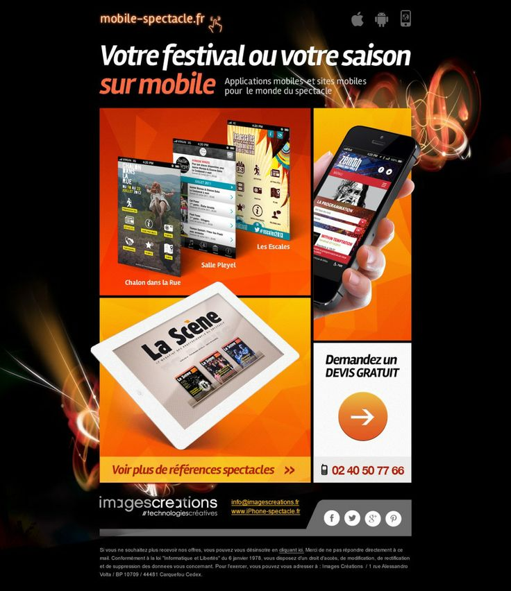 Applications & sites mobiles pour le monde culturel (Salle Pleyel,Festival Chalon dans la rue...) | agence Web & Mobile www.imagescreations)