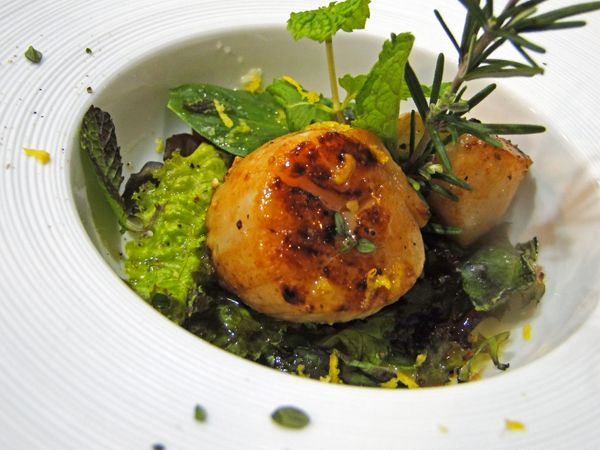Vieira do mar (Scallops with wine sauce)  Delicious wine cooked scallops served on a bed of greens.