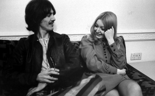 """George hangs out with Mary Hopkin the Apple artist who did """"Those Were The Days""""  """"Oh, he's a sweetheart. He bought me a wonderful guitar once, which was a great surprise… It was a present from George. He'd just spent an hour hunting around town for a guitar for me and didn't say anything… He's always been a sweetheart. Good man."""""""