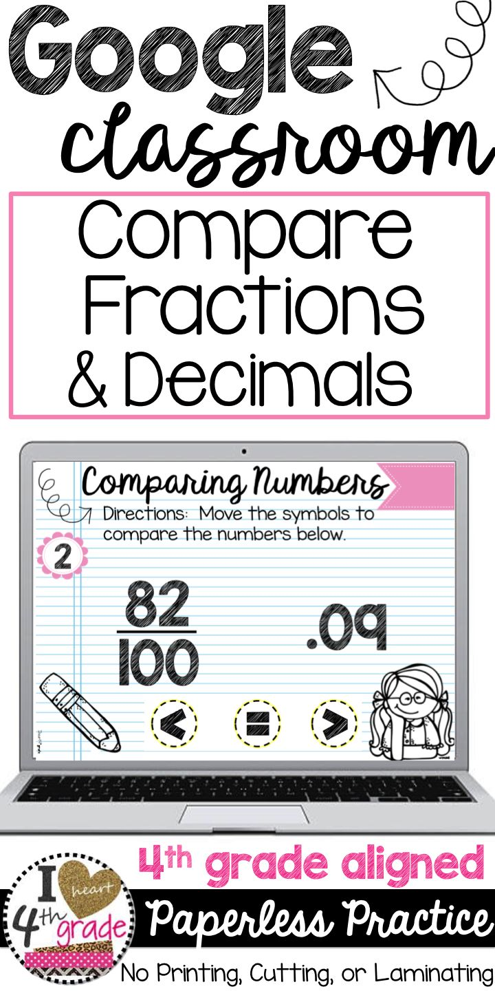 Compare Fractions | Compare Decimals | Fractions for 4th grade | Fractions for Google Classroom | Google Classroom Lessons for 4th grade | Digital Task Cards | This set of digital task cards is designed to be shared with students on Google Classroom.  Aligned to CCSS 4.NF.C.7. ($)