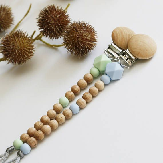 Wooden Pacifier Clip with Silicone Hexagon & Round Beads in Your Choice of Colours - Beaded Wood/ Timber Dummy Chain