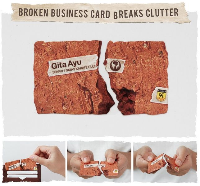 broken business card breaks clutter