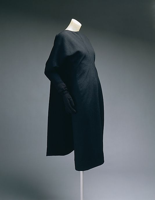 Dress.  House of Balenciaga  (French, founded 1937).  Designer: Cristobal Balenciaga (Spanish, 1895–1972). Date: 1960–64. Culture: French. Medium: wool. Dimensions: Length at CB (a): 41 in. (104.1 cm). Length at CB (b): 38 in. (96.5 cm). Length (c): 30 1/2 in. (77.5 cm).