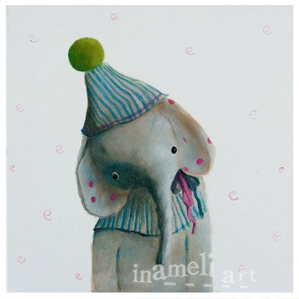 Elephant painting, Baby Boy Nursery, Circus Nursery, Boys Nursery Art, Circus, Nursery Print, elephant art, blue nursery decor