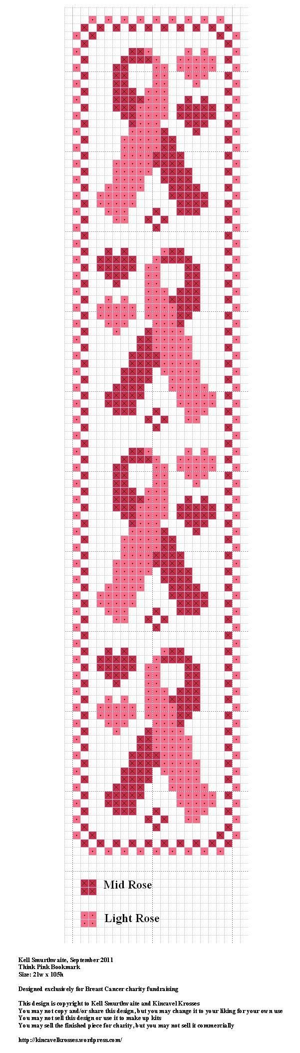 Think Pink Bookmark, designed by @Kell Smurthwaite, from Kincavel Krosses.