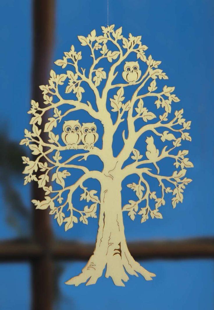 """Deko Fensterbild """"Baum mit Eulenfamilie"""", handgefertigt aus Sperrholz"""