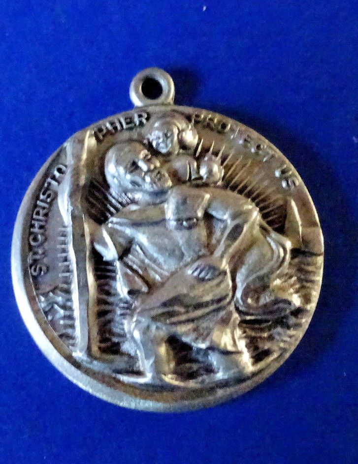 Sterling Silver Beautifully Embossed Vintage St. Christopher Medal