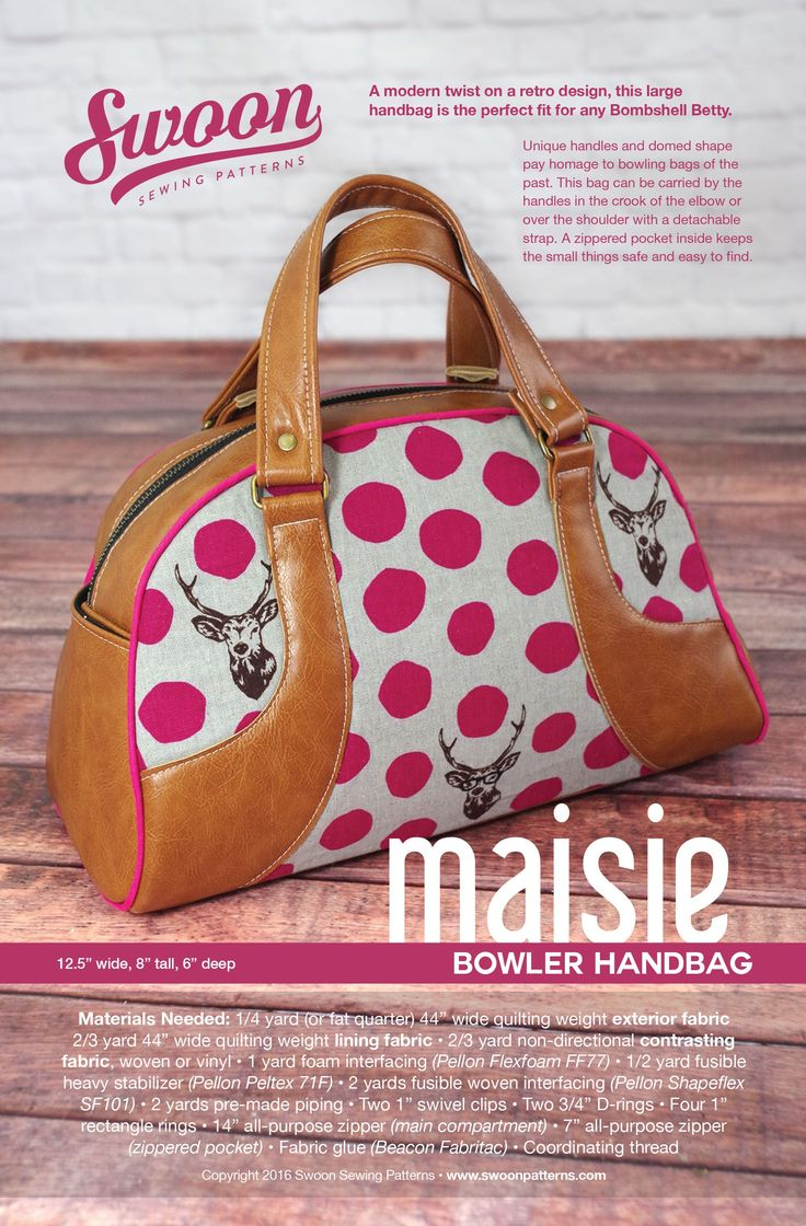Maisie Bowler Handbag - A modern twist on a retro design, this large handbag is the perfect fit for any Bombshell Betty. The unique handles and domed shape pay homage to bowling bags of the past. This bag can be carried by the handles in the crook of the elbow or over the shoulder with a detachable strap. A zippered pocket inside keeps the small things safe and easy to find. Leather like handles can be made with Pleather.