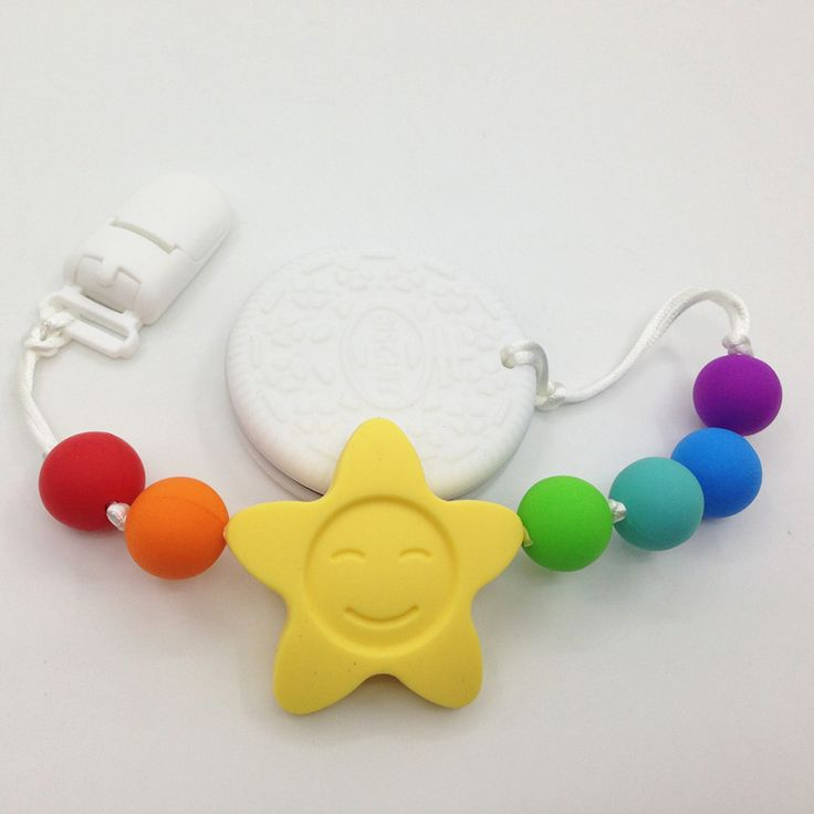 Buy BPA free Silicone Teething Pacifier Clip   silicone Biscuits pendant Clips  sunflower Teether Toy  for teething babies