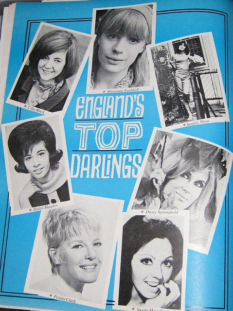 "Cilla Black, Marianne Faithfull, Sandie Shaw, Dusty Springfield, Susan Maughan, Petula Clark & Helen Shapiro, ""Teen Magazine"", June 1965."
