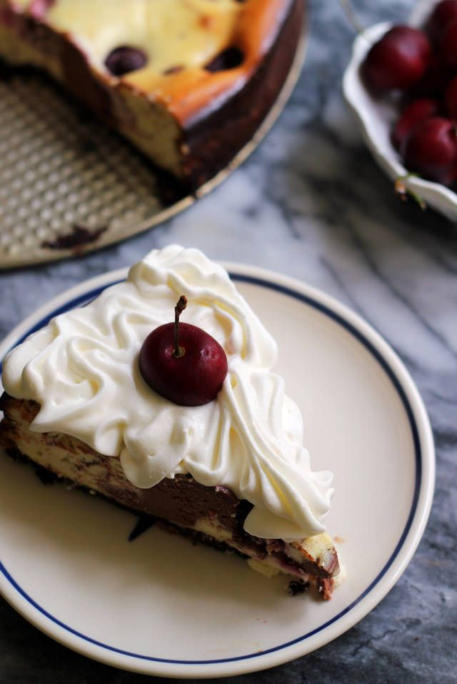 Sweet tart cherries and tangy goat cheese make this black pepper and black cherry marble cheesecake extra decadent.