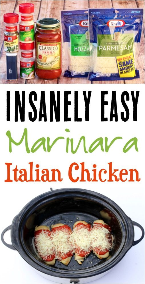 Crockpot Marinara Chicken! This slow cooker Italian dinner is such an easy, yet …
