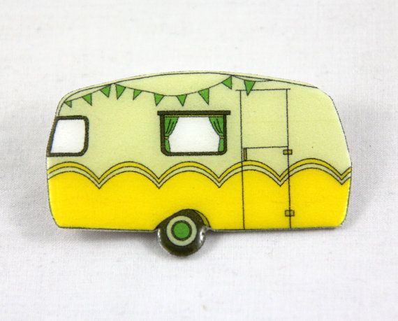 """Retro Caravan Brooch - Yellow  $14.10 The Retro Caravan Brooch is a digital design which is transferred onto light weight plastic and cut by hand. The brooch is then coated in a high gloss, durable, professional grade, clear resin finish. The metal pin back is attached with durable epoxy resin glue. MEASUREMENTS 6.5cm / 2 1/2"""" long and 4.3cm / 1 5/8"""" high. Pin back 2.5cm / 1"""""""